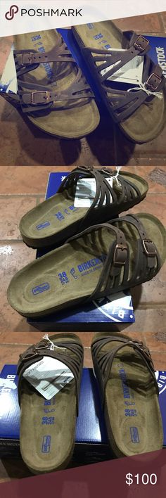 NWIB Birkenstock Granada 😍 Brand new in box Birkenstock Granada size 38 Regular! Color is habana which is an oiled leather that is meant to be a distressed look! Soft footbed! These are very comfortable and cute! Will sell very fast! This is real leather! 😍💖 Birkenstock Shoes