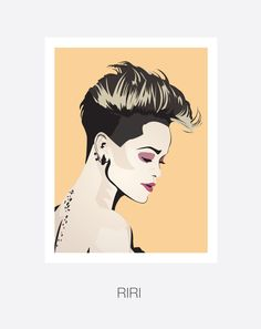 Rihanna, Hip Hop and R&B singer. and Hand and Digitally Drawn Poster. By Mike Moran The Libertines, Hip Hop And R&b, Big Hips, Retro, How To Draw Hands, Rihanna Riri, Singer, Poster Ideas, Digital