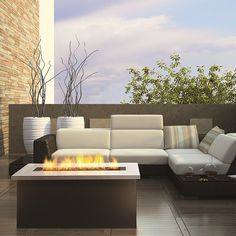 Key West Coffee Outdoor Fire Table  Stainless Steel and Bronze