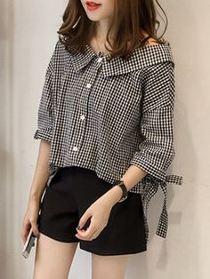 Doll Collar  Checkered Blouses