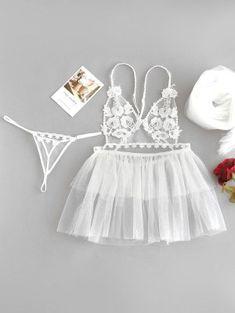 Babydoll Thong Panty Veil Wedding Bridal Lingerie WHITE - lingerie i ❤ Bride Lingerie, Jolie Lingerie, Satin Lingerie, Lingerie Outfits, Pretty Lingerie, Wedding Lingerie, Luxury Lingerie, Beautiful Lingerie, Lingerie Set