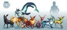 Dessin réaliste du pokémon Evoli et ses évolutions