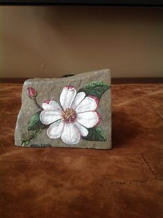 Pretty flower painted on stone!!