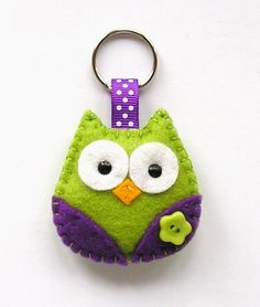 Cute Birds on Black Key Fob Fabric Key Chain