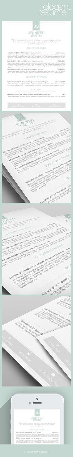 Elegant Resume Template 110450 - Premium line of Resume & Cover Letter Templates. Easy edit with MS Word, Apple Pages - #Resume, #Resumes, #ElegantResume, #ElegantResumes, #DesignResume, #Career, #Job, #Jobs, #ResumeWay - From $9.95