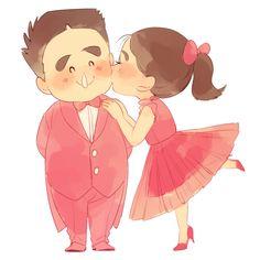 1boy 1girl ^_^ arms_behind_back bangs bow bowtie brown_hair cheek_kiss closed_eyes closed_mouth couple dress…