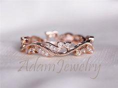 Fancy Solid 14K Rose Gold Wedding Band Full Eternity Women's Diamonds Engagement Ring/ Promise Ring/ Anniversary Ring