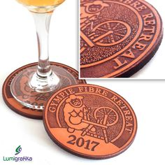 We've run off a bunch of custom engraved leather drink coasters as mementos for all attendees of the Gympie Fibre Retreat at Garapine, Kybong. Designed, engraved and cut from genuine leather at our Gympie studio. Wine O Clock, Creative Studio, Drink Coasters, Custom Engraving, Tgif, Laser Cutting, Graphic Design, How To Make, Leather