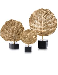 Limited Production Design: Set of 3 Beautiful Black Marble Mounted Leaf Sculptures * Golden Antique Brass * Largest: 20 x 14 x 4 inches max Interior Accessories, Decorative Accessories, Sculptures For Sale, Modern Sculpture, Decoration Table, Decorations, Luxury Home Decor, Art Object, Home Decor Items
