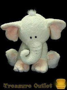 Fao Schwarz Soft Stuffed Plush White Pink Elephant Melvin 17in