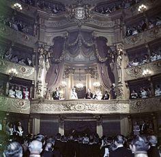 An Opera Gala in honor of Elizabeth II at São Carlos Theatre. Lisbon, Portugal, 1957