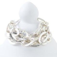 Hammered Silver Four Chain Bracelet