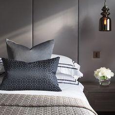 to this sleek masculine bedroom we designed in collaboration with Master Bedroom Design, Bedroom Inspo, Home Bedroom, Modern Bedroom, Bedroom Decor, Bedroom Ideas, Master Room, Laura Hammett, Upholstered Walls