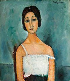 Amedeo Modigliani, 1916, Christina, privé collectie. In zijn jeugd bestudeerde de Italiaanse kunstenaar Modigliani vooral kunst uit de Renaissance periode, oa in Florence. Naarmate hij ouder werd en in Parijs woonde en werkte ontwikkelde hij een geheel eigen stijl, waarin ook Afrikaanse beeldhouwkunst/maskers terug te vinden zijn. Naast een korte periode van beeldhouwkunst schilderde hij vooral een enorm aantal portretten en naakten. Modern.