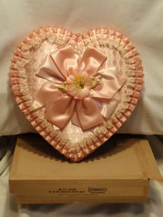 Large Vintage Schrafft's Pink Ruffled Valentine Heart Chocolate Candy Box