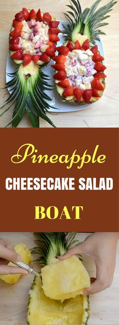 Pineapple Strawberry Cheesecake Salad recipe is no bake dessert recipe which is . Pineapple Strawberry Cheesecake Salad recipe is no bake dessert recipe which is quick and easy to make. Use the pineapple as the boat or bowl to make it extra fun! Strawberry Cheesecake Salad, Pineapple Cheesecake, Pineapple Boats, Pineapple Recipes, Pineapple Juice, Salad Recipes, Snack Recipes, Dessert Recipes, Delicious Recipes
