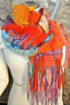 Saori Gypsy Scarf by HandwovensbySherryK on Etsy