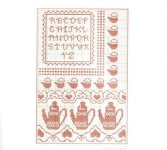 Red coffee / tea them alphabet sampler cross stitch chart