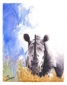 Watercolor Rhino painting by Artist Eric Sweet.