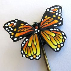 Monarch Butterfly Hair Clip Polymer Clay Hair Pin by Claybykim