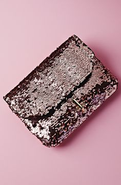 Pink sequin clutch.
