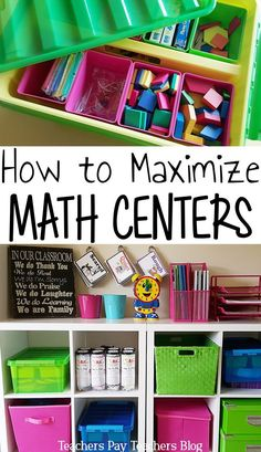 Math centers can be overwhelming. Use these organization tips and math center ideas to make them a breeze. From choosing the right math games to classroom management. (the tip is my favorite) by darlene Maths Guidés, Preschool Math, Math Classroom, Fun Math, Math Games, Teaching Math, Classroom Organization, Classroom Management, Math Activities