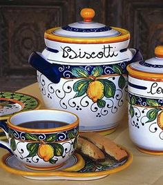 Italian Ceramics - Canisters & Biscotti Jars - Page 1 Lemon Biscotti, Italian Pottery, Hand Painted Ceramics, Earthenware, Ceramic Pottery, Dinnerware, Tuscany, Positano, Dishes