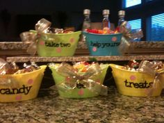 "Candy bowls for a party:  ""Candy"", ""Sweets"", ""Treats"", ""Take Two"", and ""Help yourself""."
