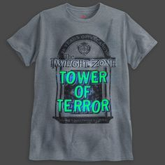 Merchandise celebrates anniversary of Twilight Zone Tower of Terror at Walt Disney World Resort. I think Leap would like this one! Disney World Shirts, Disney World Resorts, Walt Disney World, Disney Parks, Disney Outfits, Kids Outfits, Disney Clothes, Six Flags Great Adventure, Hollywood Tower Hotel