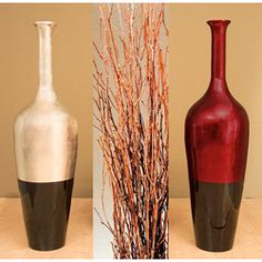 Shop for Lacquered Floor Vase with Birch Branches. Get free delivery On EVERYTHING* Overstock - Your Online Home Decor Outlet Store! Floor Vase Decor, Vases Decor, Elegant Home Decor, Elegant Homes, Home Construction Cost, Bamboo Construction, Contemporary Vases, Birch Branches, Gold Vases