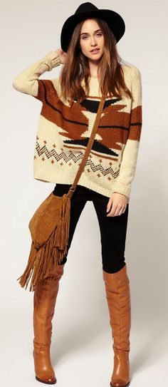 Boho tribal sweater with leggings, tall boots & hat Hippie Style, Hippie Mode, Bohemian Mode, Bohemian Style, My Style, Styl Boho, Hippie Gypsy, Gypsy Style, Boho Outfits