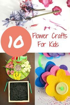 10 Fantastic Flower Crafts For Kids! - Crafts on Sea Summer Crafts, Easy Crafts, Arts And Crafts, Crafts For Kids To Make, Craft Activities For Kids, Kids Crafts, Crafty Kids, Nature Crafts, Creative Kids