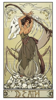 The Four Riders of the Apocalypse: Conquest, War, Famoine, and Death, art nouveau style. Let it be known that beauty is something to be feared.