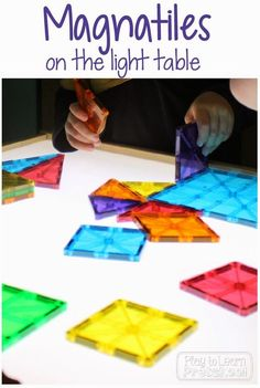 Magna-Tiles on the Light Table by Play to Learn Preschool