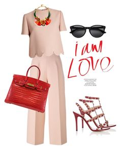 """""""lady"""" by omahtawon ❤ liked on Polyvore featuring Fendi, Valentino, Elizabeth Cole and Hermès"""