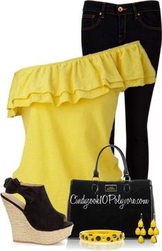 """Black & Yellow Contest"" by cindycook10 on Polyvore"