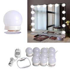 Hollywood Style LED Vanity Mirror Lights Kit with 10 Dimmable LED Light Bulbs and Flexible Strip for Makeup Mirror in Bedroom Dressing Room & Bathroom , White #Hollywood #Style #Vanity #Mirror #Lights #with #Dimmable #Light #Bulbs #Flexible #Strip #Makeup #Bedroom #Dressing #Room #Bathroom #White