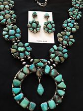 Native American Sterling Silver Turquoise  Squash Blossom Necklace Earrings