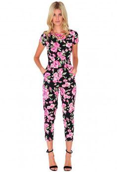 Kia Rose Print Jumpsuit - Jumpsuits & Playsuits - Missguided
