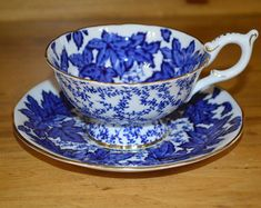 Vintage Aynsley tea cup and saucer blue turquoise corset shape