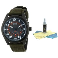 Citizen BV1085-22H Men's Eco-Drive Grey Dial Green Nylon Strap Watch with 30ml Ultimate Watch Cleaning Kit