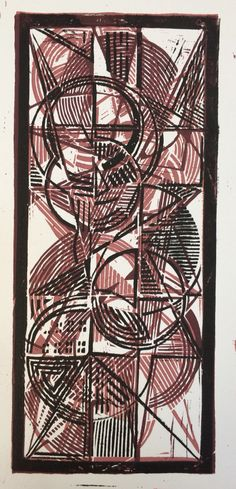 2 of 9 one-of-a-kind Linocut prints. 5x11in. These are all different due to printing 3 geometric design plates in different colors, order, & orientation. Kevin Houchin 4/2015
