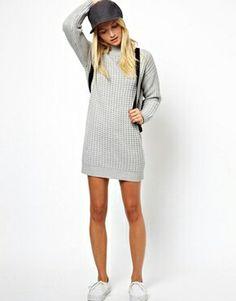 Light grey short jumper dress