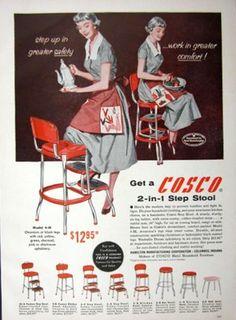 Vintage Color COSCO 2-in-1 Step Stool Magazine Print Ad w Prices Hamilton Mfg Co