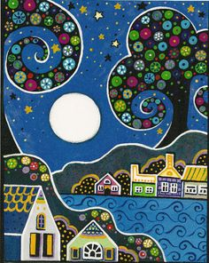 ACEO PRINT OF PAINTING RYTA ABSTRACT FOLK ART NIGHT SKY MOON TREES HOUSES | eBay