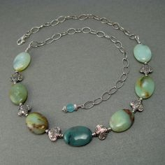 Aqua Peruvian Opal and Sterling Silver by CountenanceJewelry, $57.00