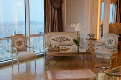 120 years old French chair set. Reuphostered, and painted with silver leaf. This penthouse decorated by Assalam Interior Co. in 2014 Ataşehir Istanbul. Everysingle pieces are custommade. Project was improved for most famous Turkish contractor Mr. Ali Ağaoğlu by Sezen Ulubay. The style reminds last 19th century Osmani Palaces. Especially ceiling and wall decorations facinating. The location of project is Andromeda Gold Tower which contructed by Agaoğlu Company, 50th- 51th floor penthouse.