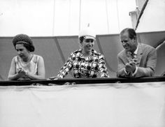 Queen Elizabeth II, Princess Anne and Prince Philip on the Royal Yacht Britannia