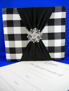 Black and White Checkered Guest Book  w/ brooch