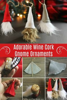 DIY Swedish Gnome Ornaments from Wine Corks - Holiday Fun! - Regina Lorra - DIY Swedish Gnome Ornaments from Wine Corks - Holiday Fun! Wine Cork Ornaments, Gnome Ornaments, Wine Cork Crafts, Diy Christmas Ornaments, Holiday Crafts, Holiday Fun, Christmas Decorations, Christmas Tables, Handmade Christmas